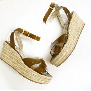 Jimmy Choo Brown Patent Leather Espadrille Wedges